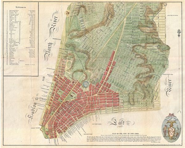 Plan of the City of New York, Drawn from Actual Survey by Casimir Th. Goerck and Joseph Fr. Mangin, City Surveyor.