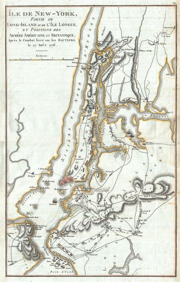 Ile de New York, Partie de Long-Island ou de I'le Longue, et Positions des Armees Americaine et Britannique, Apres le Combat livre sure Hauteurs le 27 Aout 1776.