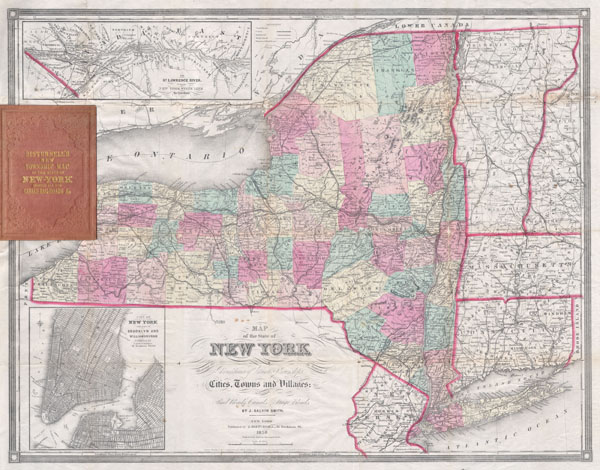 Map of the State of New York Showing the location of Boundaries of Counties & Townships Cities, Towns and Villages: the Courses of Rail Roads, Canals & Stage Roads.