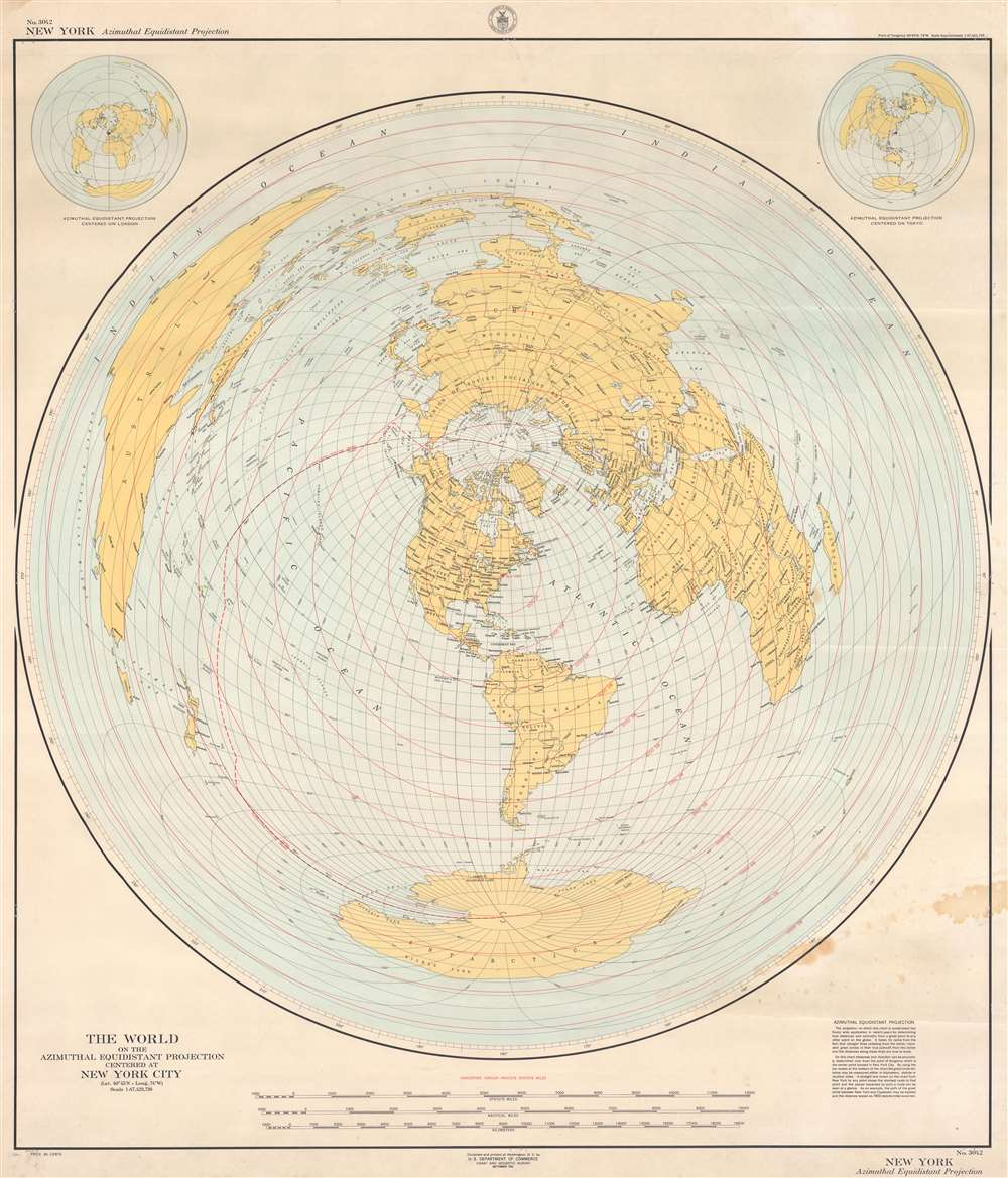 The World on the Azimuthal Equidistant Projection Centered at New York City. - Main View