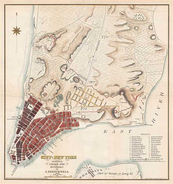 City of New York. Surveyed by J. Hills, 1782. Re-Published by J. Disturnell. 1876.
