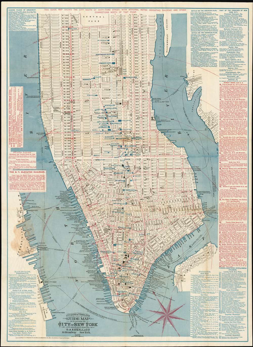 Citizens and Travelers Guide Map in, to and from the City of New York and Adjacent Places. - Main View