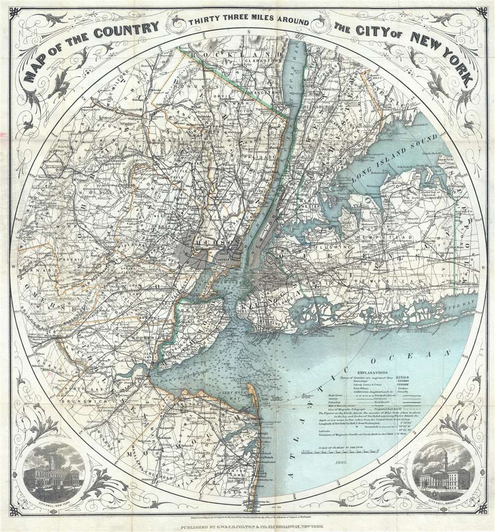 Map of The Country Thirty Three Miles Around The City of New York.