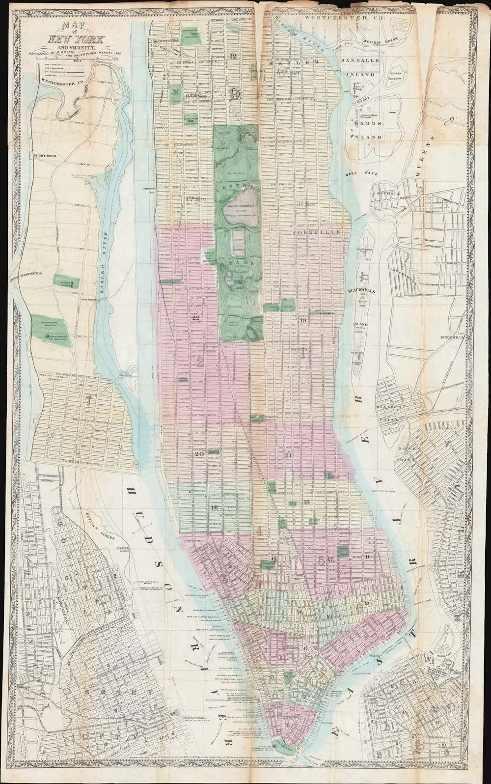 1865 Dripps Map or Plan of New York City and Vicinity