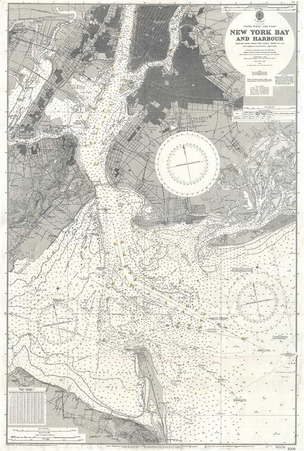 Map Of New York Harbour.United States East Coast New York Bay And Harbour Geographicus