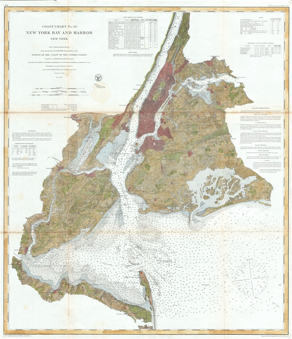 Coast Chart No. 20 New York Bay and Harbor New York.