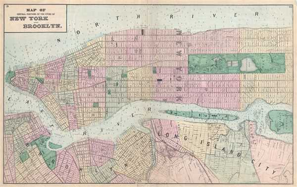 Map of central portions of the cities of New York and Brooklyn.