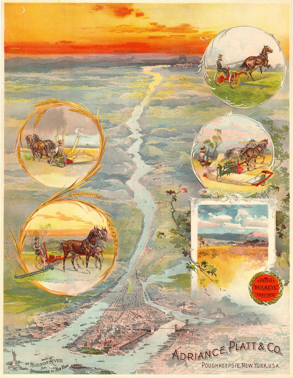 1910 Advertising Chromo View / Map of New York City and the Hudson River