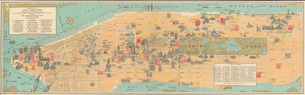 Pictorial Map of New York City Illustrating in graphic manner the Points of Interest: Important Buildings, Institutions, Churches, Parks, Theatres and famous Fifth Avenue Residences. - Main View