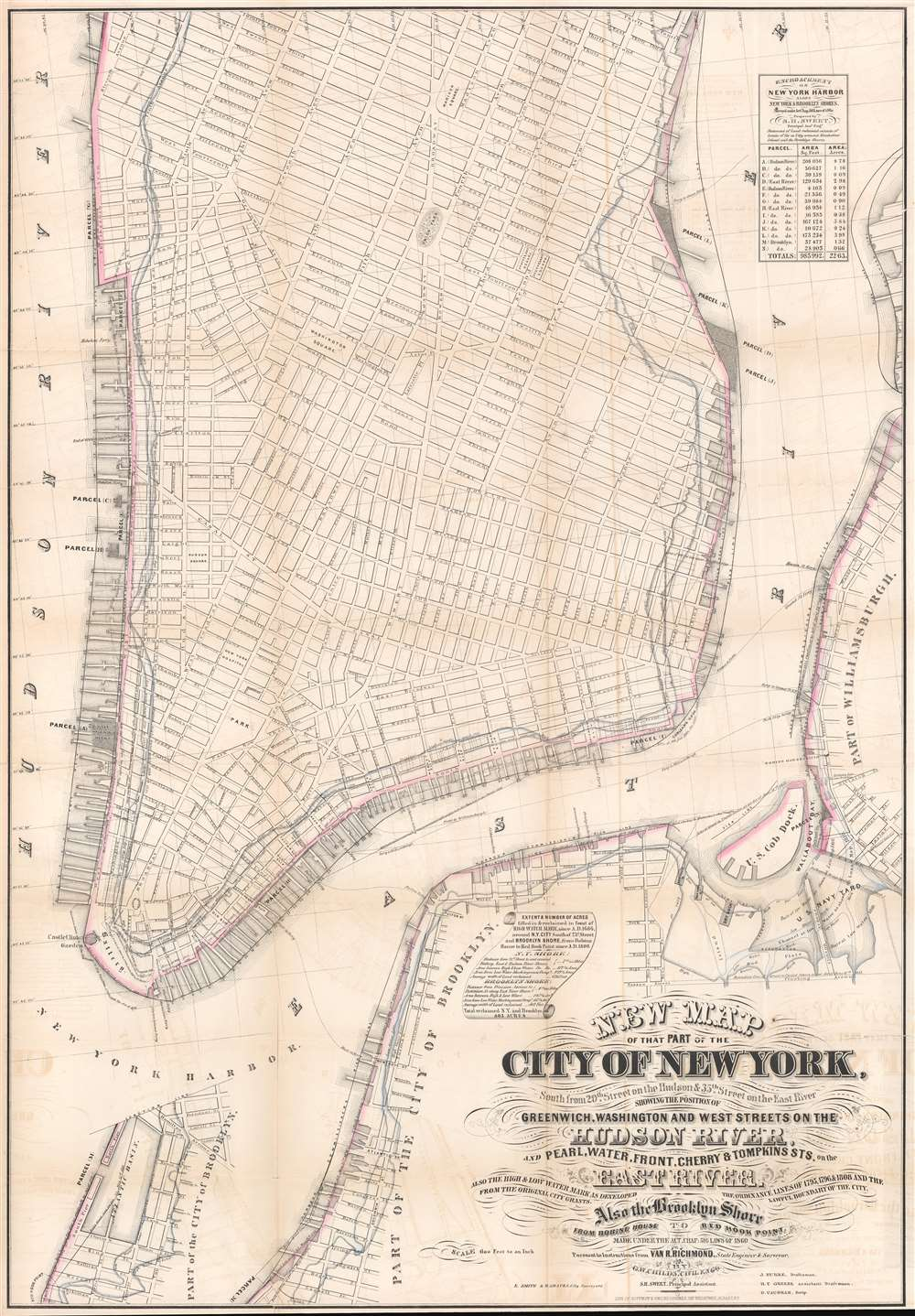 New Map of that Part of the City of New York south from 20th Street on the Hudson and 35th Street on the East River. - Main View