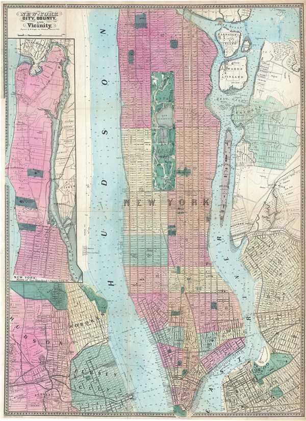 1864 Dripps Map of New York City