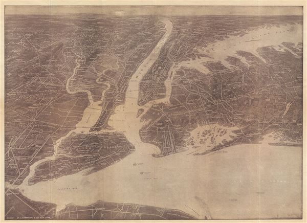 Hammond's Birds Eye View Map of New York City and Vicinity showing Roads, Railroads, Cities and Towns, etc.