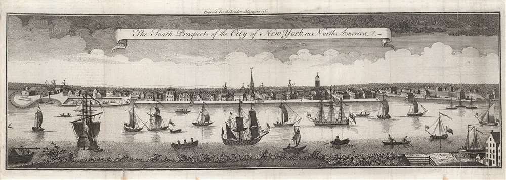 The South Prospect of the City of New York, in North America. - Main View