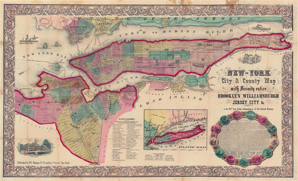 New-York City and County Map with Vicinity entire Brooklyn Williamsburgh Jersey City an c. in the 79th Year of Independence of the United States. - Main View