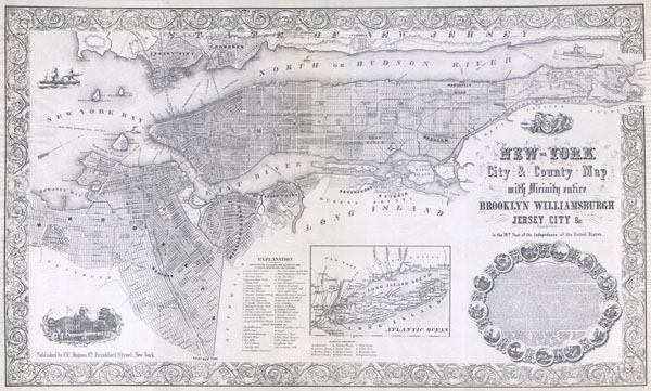New-York City & County Map with Vicinity entire Brooklyn Williamsburgh Jersey City &c. in the 79th Year of Independence of the United States