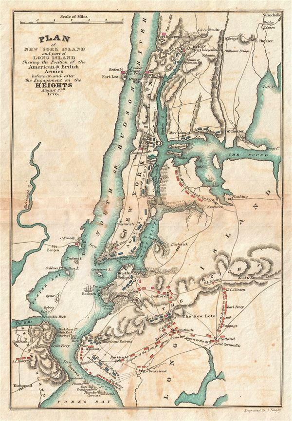 Plan of New York Island and part of Long Island Shewing the Position of the American & British Armies before, at, and after the Engagement on the Heights August 27th 1776. - Main View