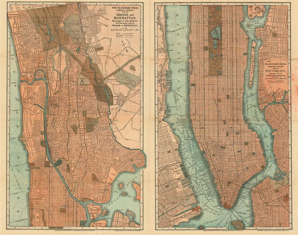 The Blanchard Press Correctly Indexed Map of Bronx and Manhattan/ The Blanchard Press Correctly Indexed Map of New York City Southern Part of Manhattan Borough. - Main View