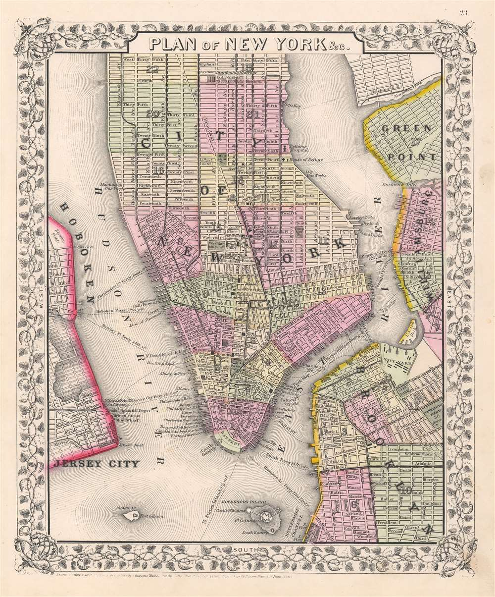 1866 Mitchell City Plan or Map of New York City, New York