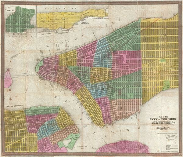Map of the City of New York, with the adjacent Cities of Brooklyn & Jersey City, and the Village of Williamsburg.