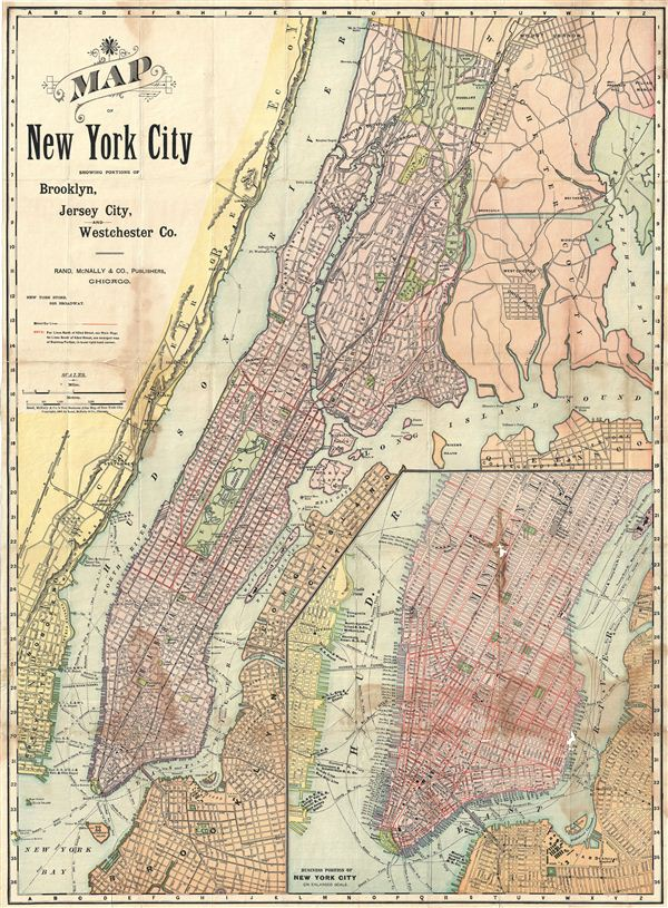 Map of New York City Showing Portions of Brooklyn, Jersey City, and Westchester Co.