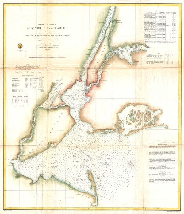 Preliminary Chart of New York Bay and Harbor.