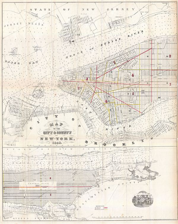 Map Of New York Harlem.Map Of The City County Of New York 1858 Geographicus Rare