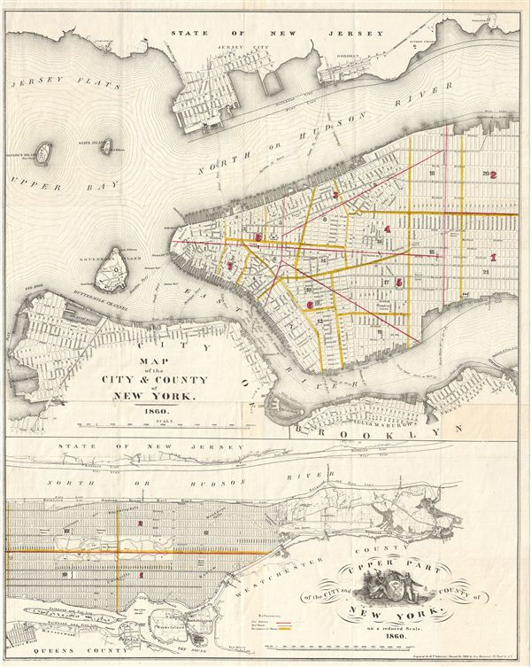 Map of the City & County of New York.   Upper Part of the City and County of New York, on a reduced Scale. - Main View
