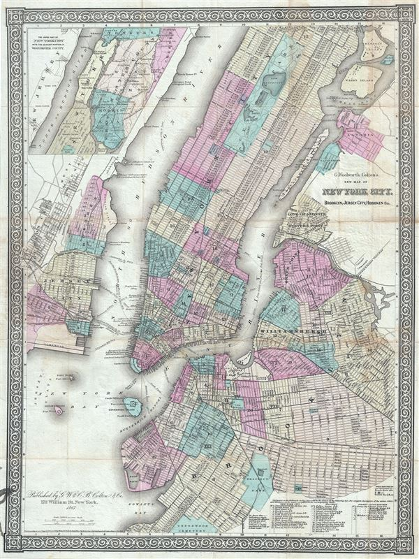 G. Woolworth Colton's New Map of New York City, Brooklyn, Jersey City, Hoboken, Etc. - Main View