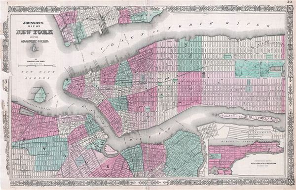 Johnson's Map of New York and the Adjacent Cities.