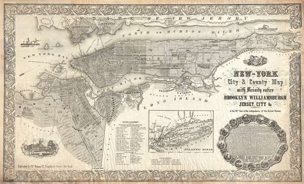 New-York City and County Map with Vicinity entire Brooklyn Williamsburgh Jersey City an c. in the 79th Year of Independence of the United States.