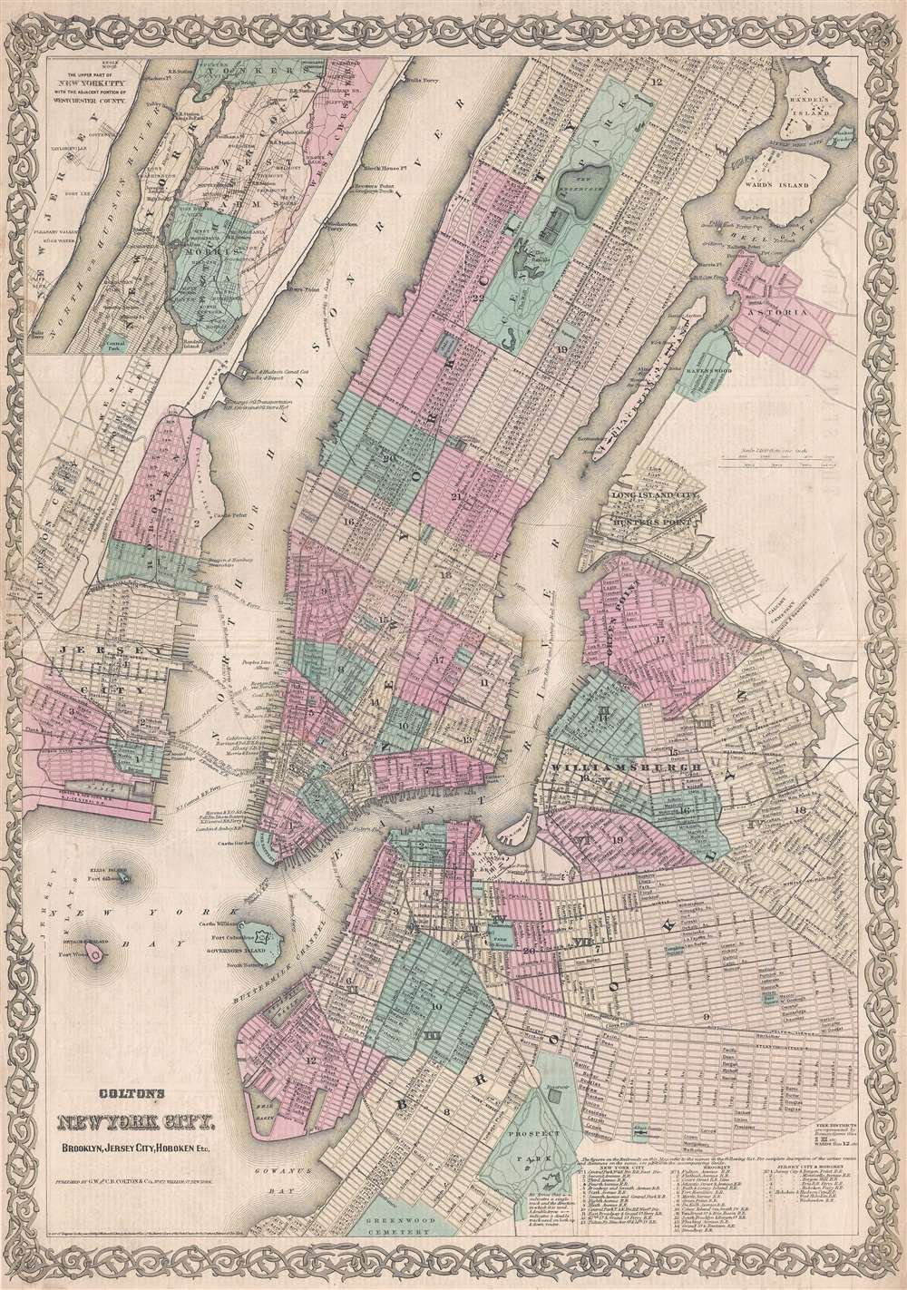 1867 Colton Map of New York City and Brooklyn