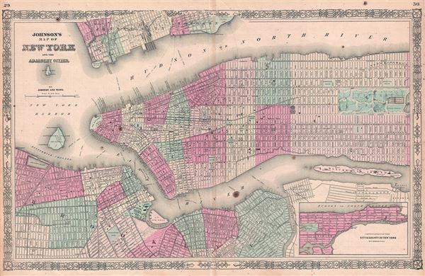 Johnson's Map of New York and the Adjacent Cities. - Main View