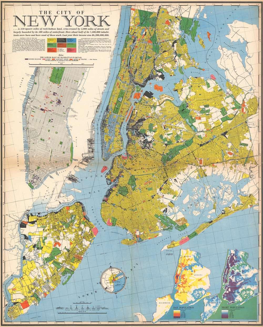1939 Richard Edes Harrison Map of New York City