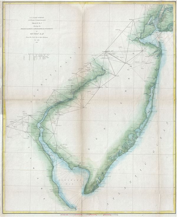 Sketch B. No. 3 Showing the Triangulation and Geographical Positions in Section no. II From New York City to Cape Henlopen.
