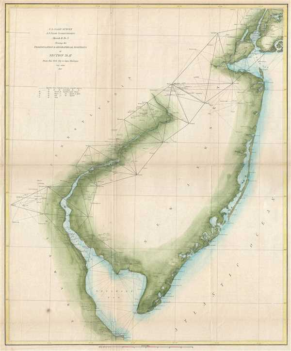 Sketch B. No. 3 Showing the Triangulation and Geographical Positions in Section no. II From New York City to Cape Henlopen. - Main View