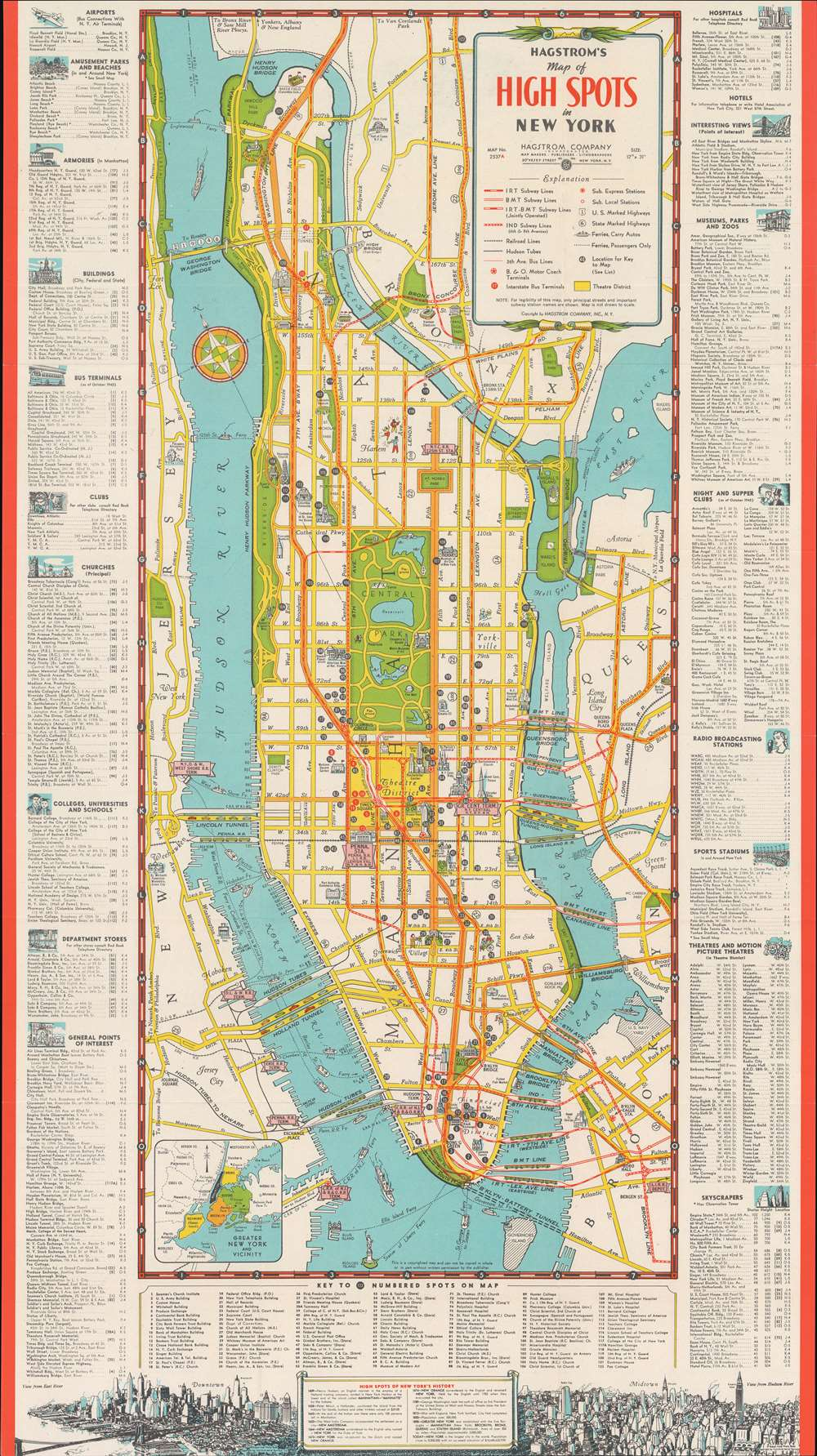 1945 Hagstrom Map of New York City and its Tourist Attractions