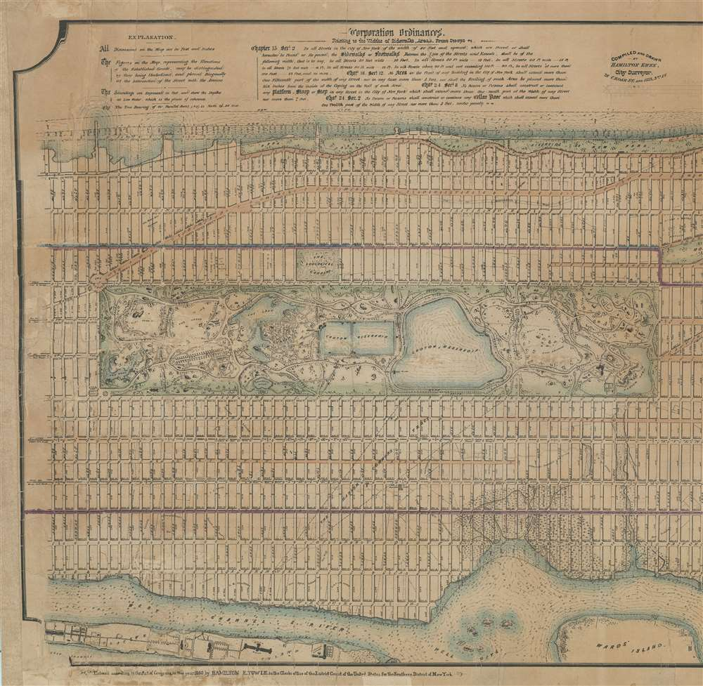 Map of the City of New York, North of 55th Street, Showing on the 'West Side', the Streets, Roads, Avenues and Public Places, established, widened and retained, and the New Pier and Bulk Head Lines and c., as Laid out by the Commsnrs. of Central park.  Also showing on the East Side, The Extenson of Madison and Lexington Avenues, The Location fo the Harbor Commissioners, Bulk-Head and Pier Lines, together with the Sizes of the Blocks, Widths of Streets and Avenues, The Elevations of Established Grade, Dimensions and Distances complete. - Alternate View 1