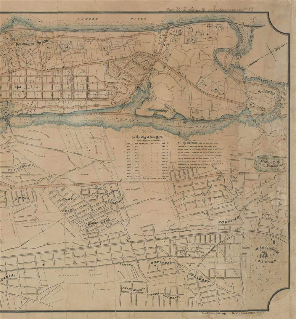 Map of the City of New York, North of 55th Street, Showing on the 'West Side', the Streets, Roads, Avenues and Public Places, established, widened and retained, and the New Pier and Bulk Head Lines and c., as Laid out by the Commsnrs. of Central park.  Also showing on the East Side, The Extenson of Madison and Lexington Avenues, The Location fo the Harbor Commissioners, Bulk-Head and Pier Lines, together with the Sizes of the Blocks, Widths of Streets and Avenues, The Elevations of Established Grade, Dimensions and Distances complete. - Alternate View 3
