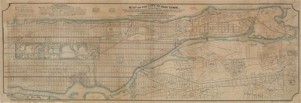 Map of the City of New York, North of 55th Street, Showing on the 'West Side', the Streets, Roads, Avenues and Public Places, established, widened and retained, and the New Pier and Bulk Head Lines and c., as Laid out by the Commsnrs. of Central park.  Also showing on the East Side, The Extenson of Madison and Lexington Avenues, The Location fo the Harbor Commissioners, Bulk-Head and Pier Lines, together with the Sizes of the Blocks, Widths of Streets and Avenues, The Elevations of Established Grade, Dimensions and Distances complete. - Main View