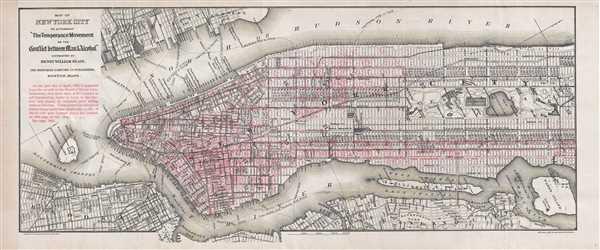 1888 Blair Temperance Saloon Map of New York City