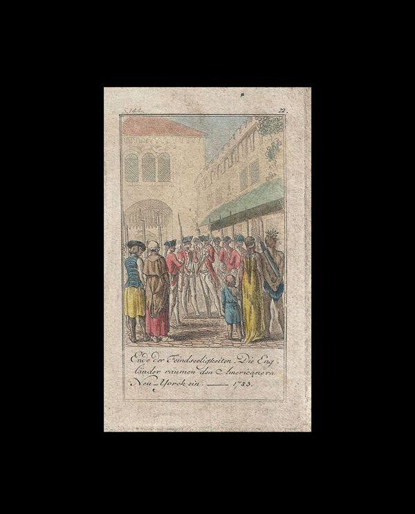 Ende der Feindseeligkeiten Die Englander raumen den Americanern Neu-Yorck un -- 1783.