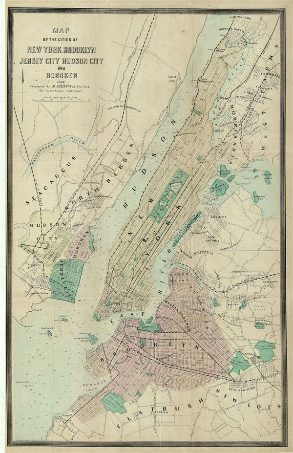 Map of the Cities of New york brooklyn Jersey City Hudson City and Hoboken.