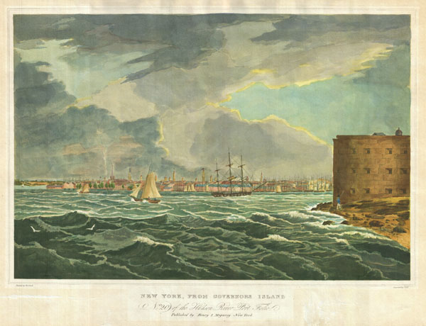 New York, From Governors Island. No.2 20 of theHudson River Port Folio.  Published by Henry I. Megarey New York.