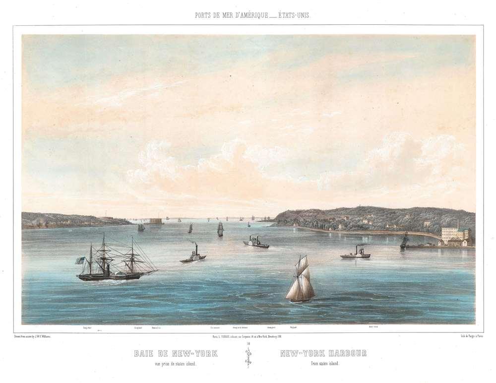 1856 Williams View of New York Harbor