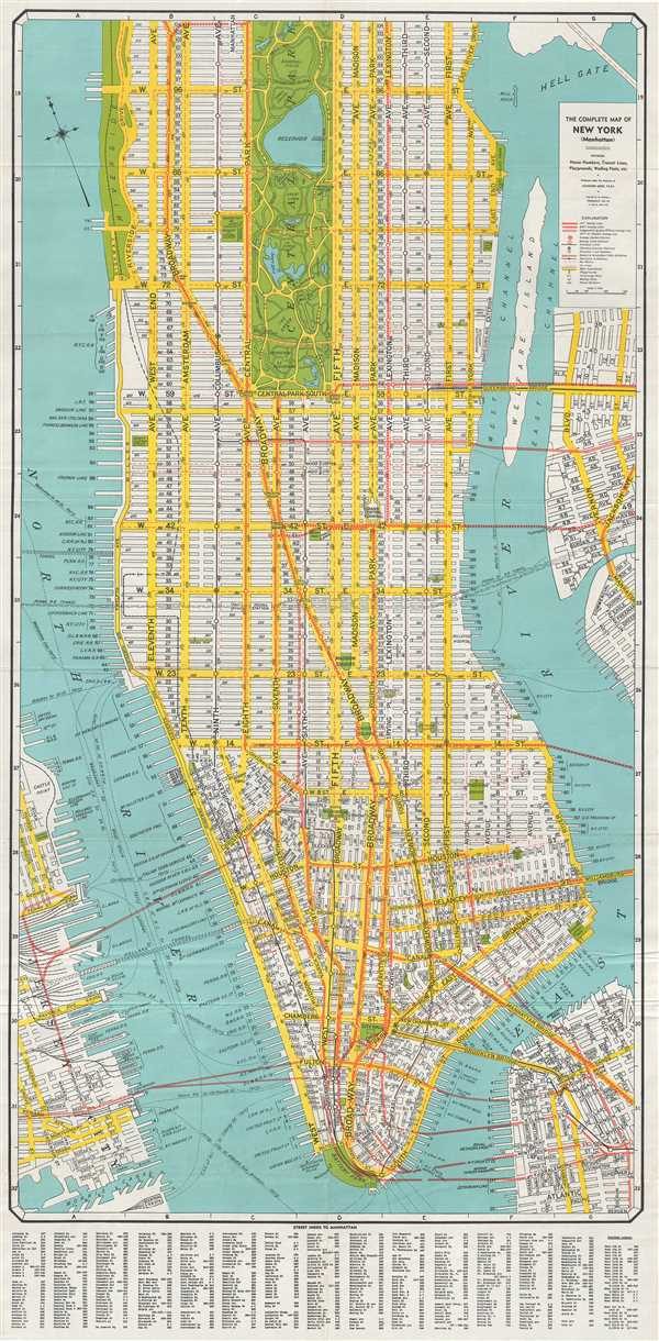 1940 Geographia Company City Plan Or Map Of New York City