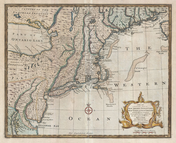 A New and Accurate Map of New Jersey, Pensilvania, New York and New England with the adjacent Countries. - Main View