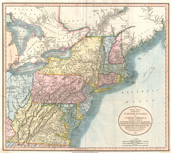 A New Map of Part of the United States of North America, Containing those of New York, Vermont, New Hampshire, Massachusets, Connecticut, Rhode Island, Pennsylvania, New Jersey, Delaware, Maryland and Virginia.