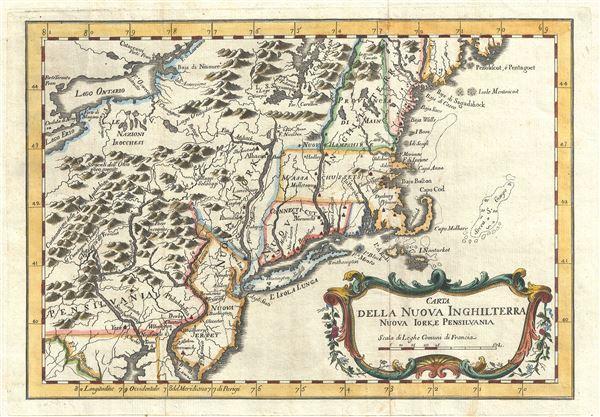 Carta Della Nuova Inghilterra Nuova Iork, e Pennsilvania.