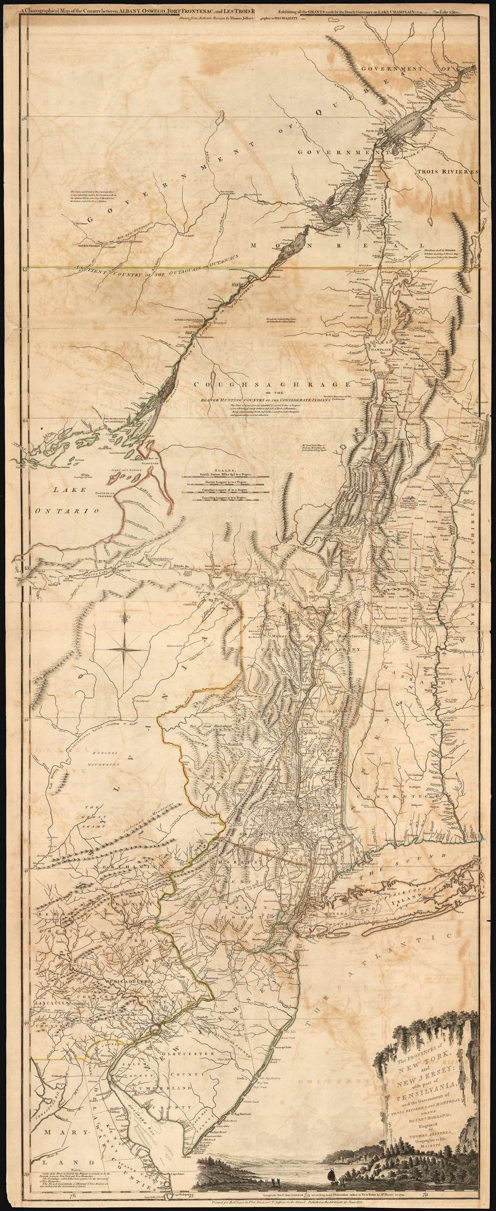 The Provinces of NEW YORK, and NEW JERSEY; with part of PENSILVANIA, and the Governments of TROIS RIVIERES, and MONTREAL: drawn by Capt. Holland. / A Chorographical Map of the Country between Albany, Oswego, Fort Frontenac, and Les Trois Rivieres; Exhibiting all the Grants made by the French Governors on Lake Champlain; & between that Lake & Montreal.