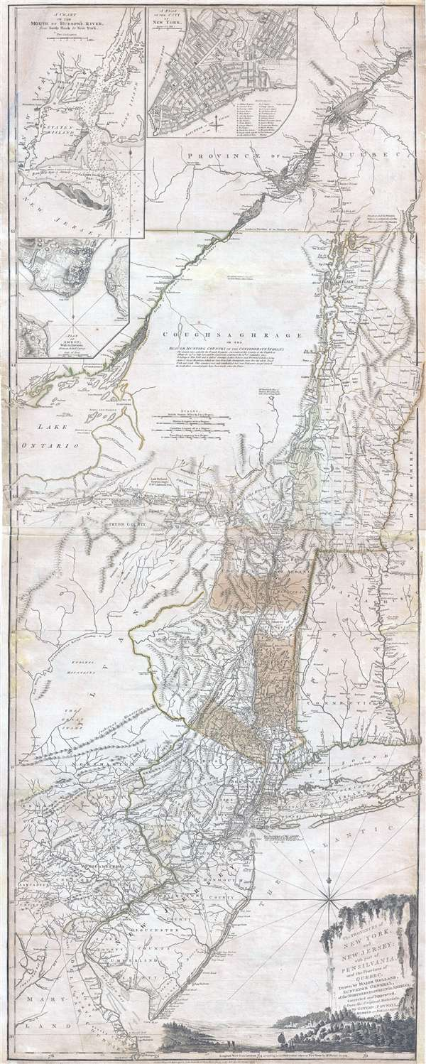 The Provinces of NEW YORK, and NEW JERSEY; with part of PENSILVANIA, and the Governments of TROIS RIVIERES, and MONTREAL: drawn by Major Holland, Surveyor General, of the Norther District in America. /  A Chorographical Map of the Country between Albany, Oswego, Fort Frontenac, and Les Trois Rivieres; Exhibiting all the Grants made by the French Governors on Lake Champlain; & between that Lake & Montreal.